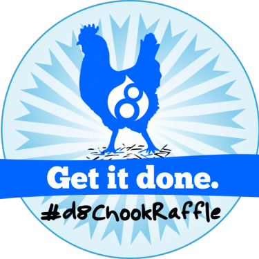 Badge with chicken wearing Drupal 8 logo and words Get it done #d8chookraffle.