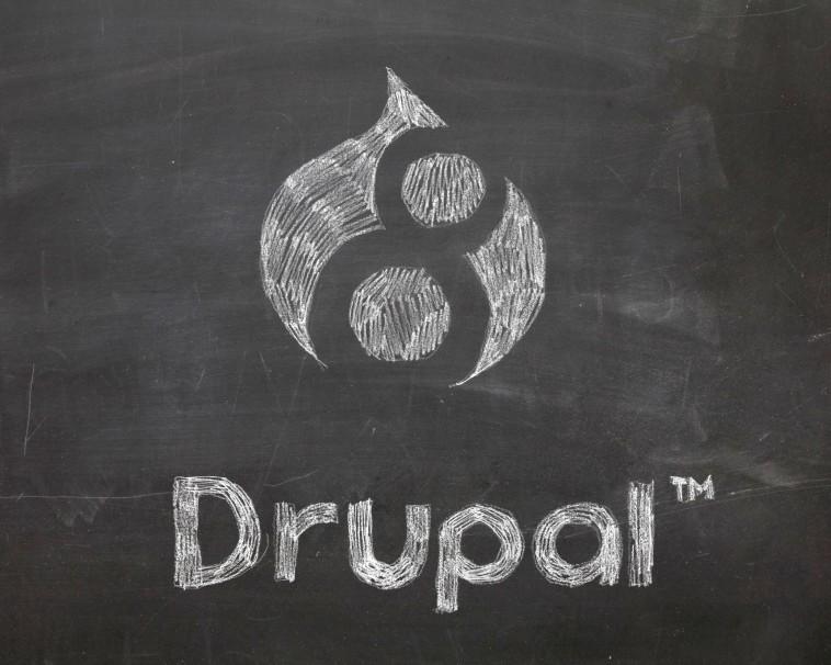 Chalk drawing of Drupal 8 logo and Drupal wordmark