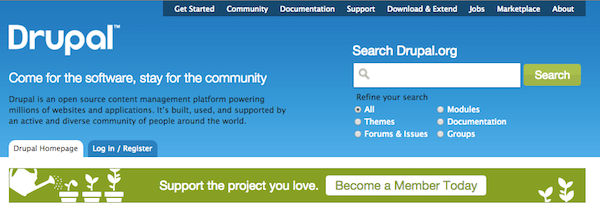 Homepage image with banner stating Support the project you love. Become a Member Today.