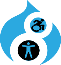 Drupal 8 logo with accessibility icons in the circles of the number 8