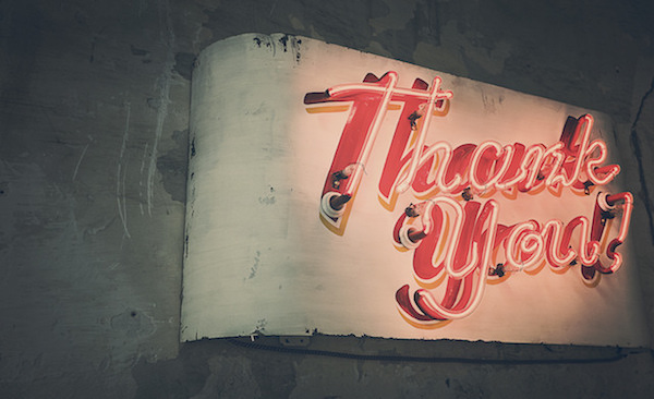 Thank you on a neon sign
